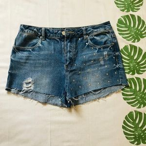 Distressed Studded Jean Shorts